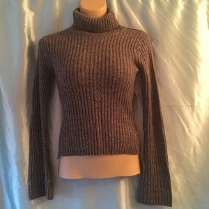 Acrylic ribbed stretch turtleneck sweater, M.